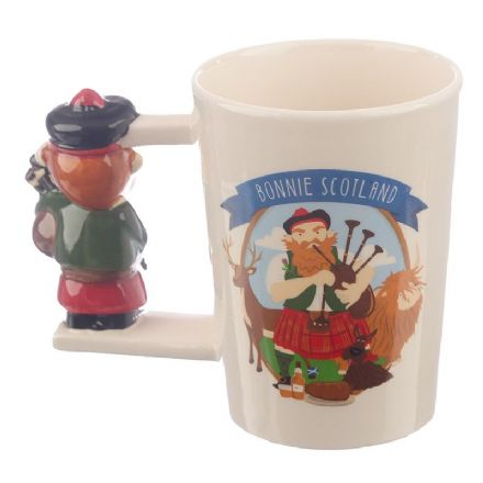 Bonnie Scotland Scottish Piper Shaped Handle Ceramic Mug